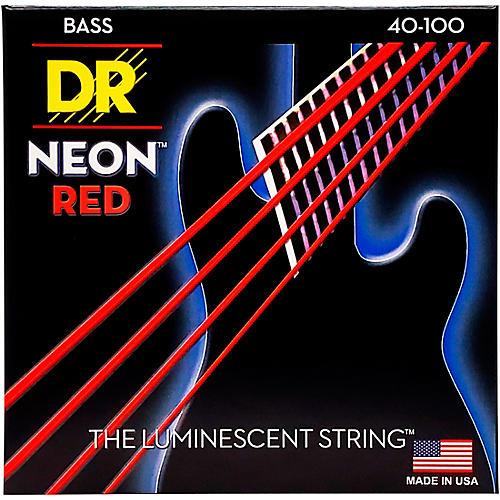 DR Strings Hi-Def NEON Red Coated Lite Bass Strings (40-100)