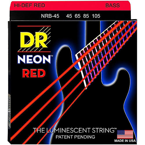 DR Strings Hi-Def NEON Red Coated Medium 4-String (45-105) Bass Guitar Strings