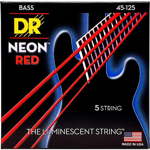 DR Strings Hi-Def NEON Red Coated Medium 5-String (45-125) Bass Guitar Strings