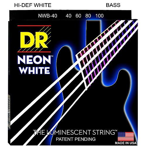 DR Strings Hi-Def NEON White Coated 4-String Bass Strings Lite (40-100)