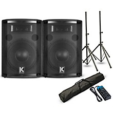 "Kustom PA HiPAC10 10"" Powered Speaker Pair with Stands and Power Strip"