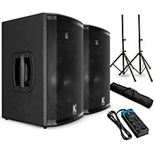 "Kustom PA HiPAC12 12"" Powered Speaker Pair with Stands and Power Strip"