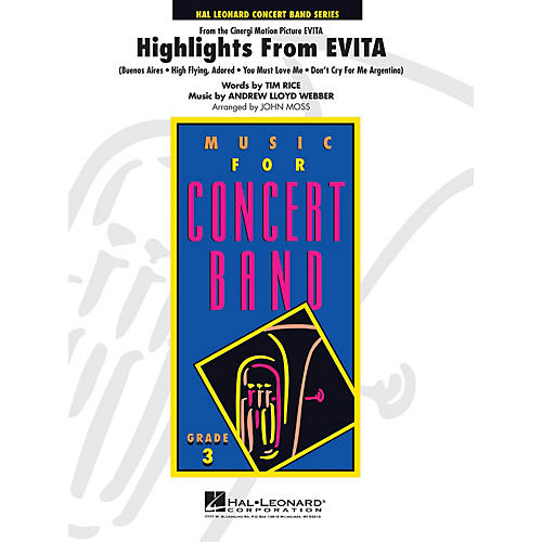 Hal Leonard Highlights from Evita - Young Concert Band Level 3 by John Moss