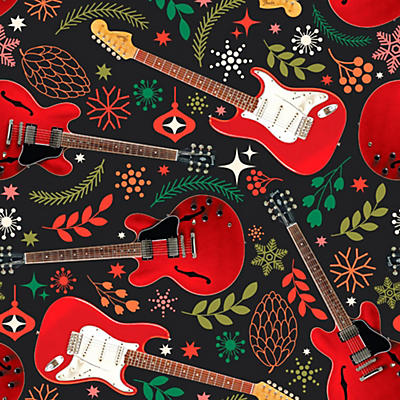 Hal Leonard Holiday Red Guitars Premium Gift Wrapping Paper