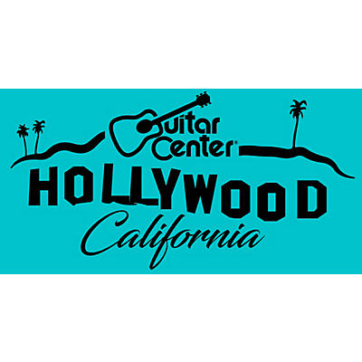 Guitar Center Hollywood Sign - Teal Color Sticker