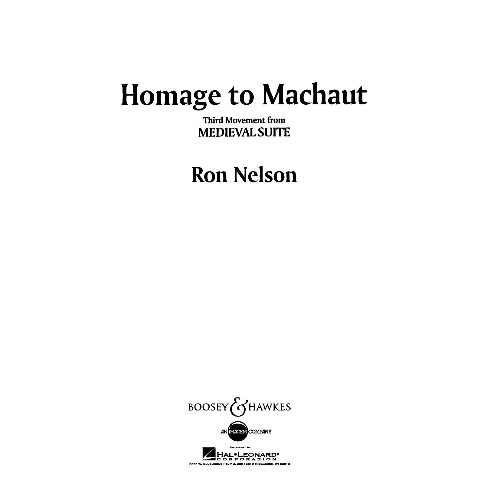 Boosey and Hawkes Homage to Machaut (No. 3 from Medieval Suite) Concert Band Composed by Ron Nelson