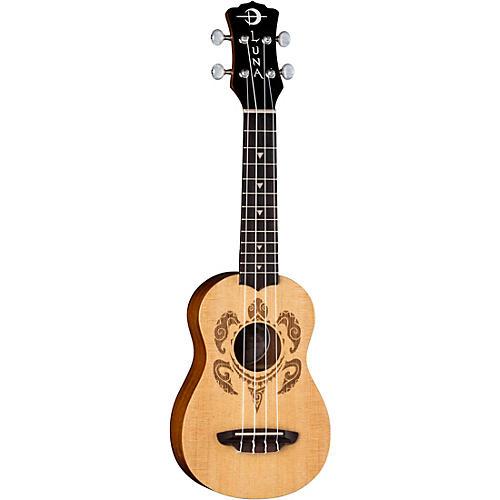 Luna Guitars Honu Turtle Spruce Soprano Ukulele Satin Natural