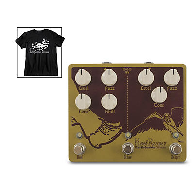 Earthquaker Devices Hoof Reaper V2 Effects Pedal and Octoskull T-Shirt Large Black