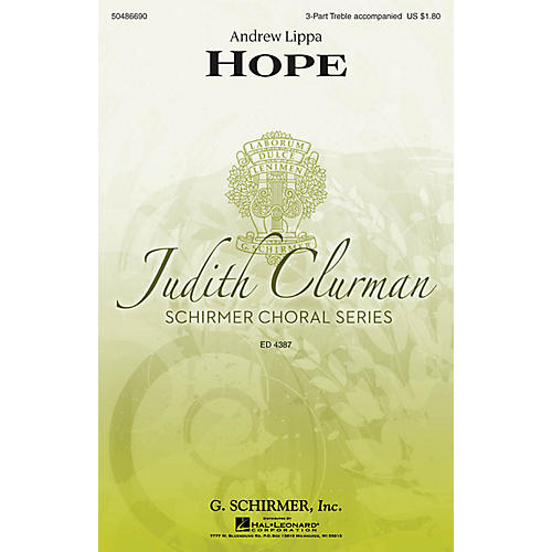 G. Schirmer Hope (Judith Clurman Choral Series) 3 Part Treble composed by Andrew Lippa