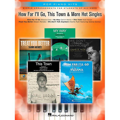 Hal Leonard How Far I'll Go, This Town & More Hot Singles - Pop Piano Hits Series