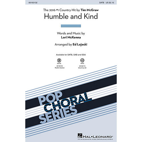 Hal Leonard Humble and Kind ShowTrax CD by Tim McGraw Arranged by Ed Lojeski