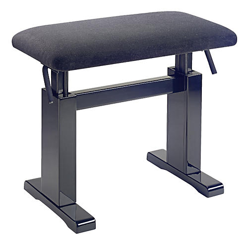 Musician's Gear Hydraulic Lift Piano Bench Black Velvet Top Black Polished Finish