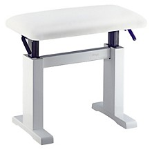 Hydraulic Lift Piano Bench White Vinyl Top White Polished Finish