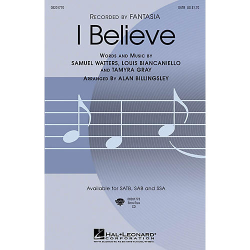 Hal Leonard I Believe SSA by Fantasia Arranged by Alan Billingsley