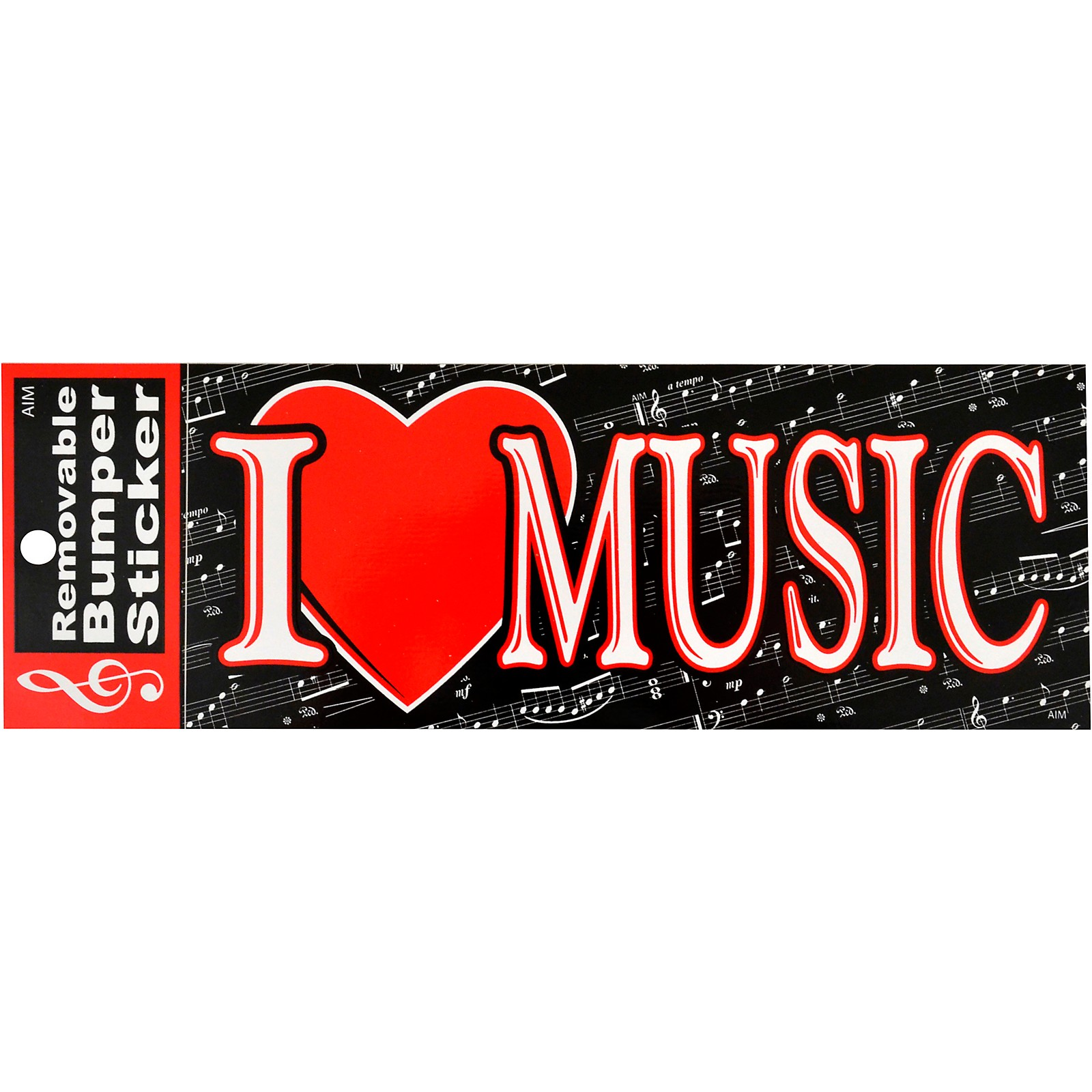 AIM I Heart Music Bumper Sticker