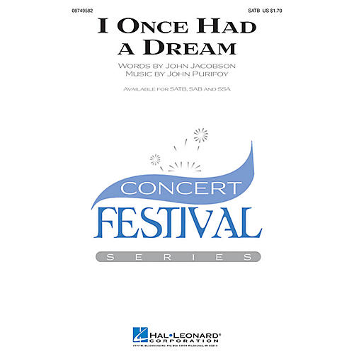 Hal Leonard I Once Had a Dream SAB Composed by John Jacobson