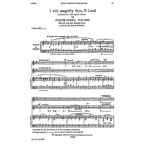 Novello I Will Magnify Thee, O Lord SS Composed by Joseph Corfe