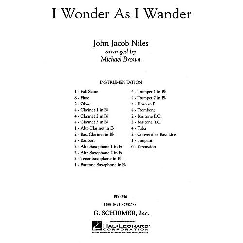 G. Schirmer I Wonder As I Wander (full Score) Concert Band