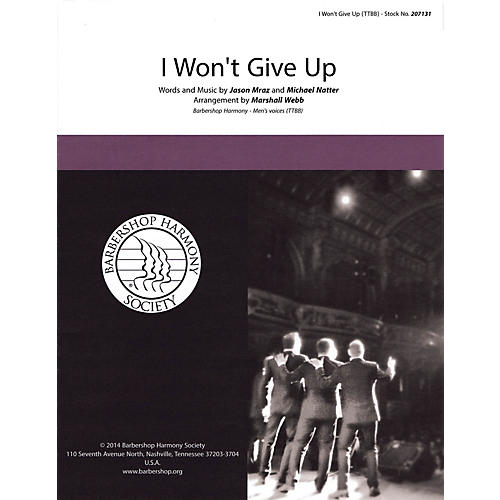 Hal Leonard I Won't Give Up TTBB A Cappella