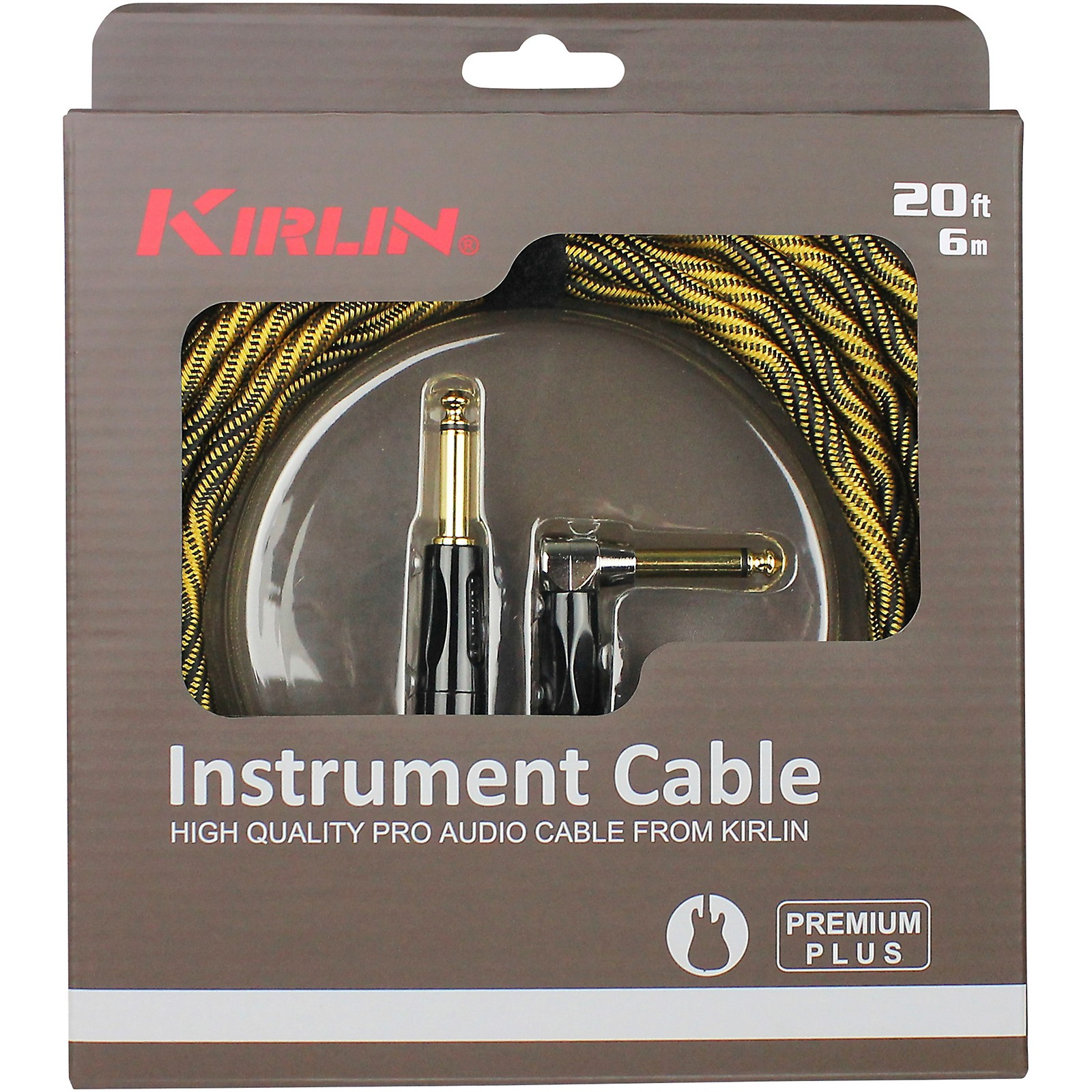 KIRLIN IWB Black/Gold Woven Instrument Cable 1/4