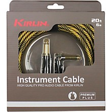 "KIRLIN IWB Black/Gold Woven Instrument Cable 1/4"" Straight to Right Angle"