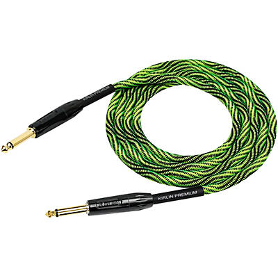 "KIRLIN IWB Black/Green Woven Instrument Cable 1/4"" Straight"