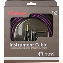 """KIRLIN IWB Black/Purple Woven Instrument Cable 1/4"""" Straight to Right Angle"""