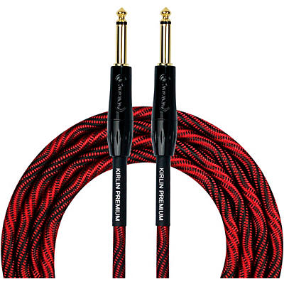 """KIRLIN IWB Black/Red Woven Instrument Cable 1/4"""" Straight"""