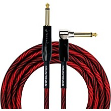 "KIRLIN IWB Black/Red Woven Instrument Cable 1/4"" Straight to Right Angle"