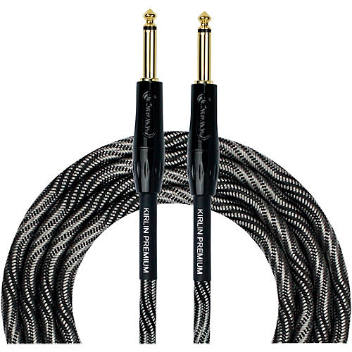 KIRLIN IWB Black/White Woven Instrument Cable 1/4