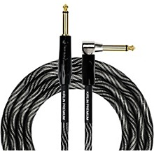 "KIRLIN IWB Black/White Woven Instrument Cable 1/4"" Straight to Right Angle"