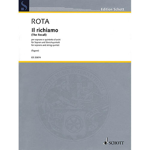 Schott Il richiamo (Soprano and String Quartet) Schott Series Softcover Composed by Nino Rota