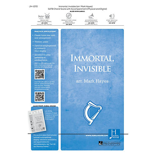 Jubal House Publications Immortal, Invisible, God Only Wise BRASS/PERCUSSION PARTS Arranged by Mark Hayes