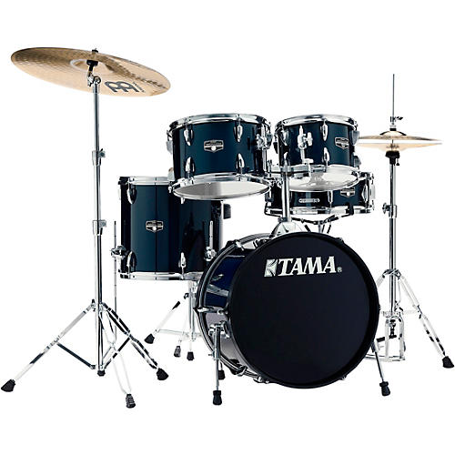 TAMA Imperialstar 5-Piece Complete Drum Set with 18 in. Bass Drum and Meinl HCS Cymbals Dark Blue