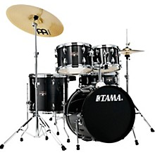 Imperialstar 5-Piece Complete Drum Set with 18 in. Bass Drum and Meinl HCS Cymbals Hairline Black