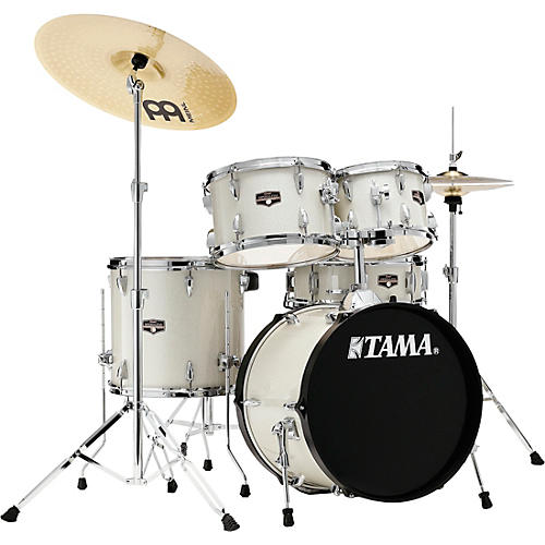 TAMA Imperialstar 5-Piece Complete Drum Set with 18 in. Bass Drum and Meinl HCS Cymbals Vintage White Sparkle