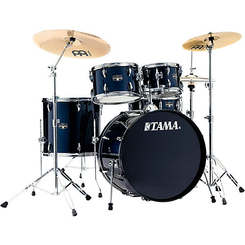 TAMA Imperialstar 5-Piece Complete Drum Set with 22 in. Bass Drum and Meinl HCS Cymbals Dark Blue