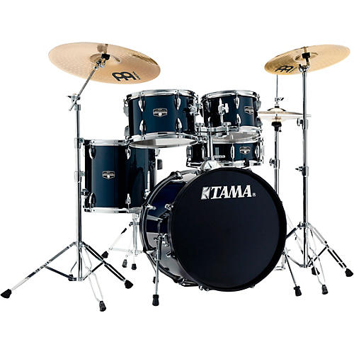 TAMA Imperialstar 5-Piece Complete Drum Set with Meinl HCS cymbals and 20 in. Bass Drum Dark Blue