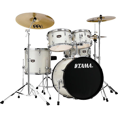 TAMA Imperialstar 5-Piece Complete Drum Set with Meinl HCS cymbals and 20 in. Bass Drum Vintage White Sparkle