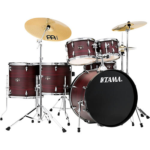 TAMA Imperialstar 6-Piece Complete Drum Set with Meinl HCS Cymbals and 22 in. Bass Drum Burgundy Walnut Wrap