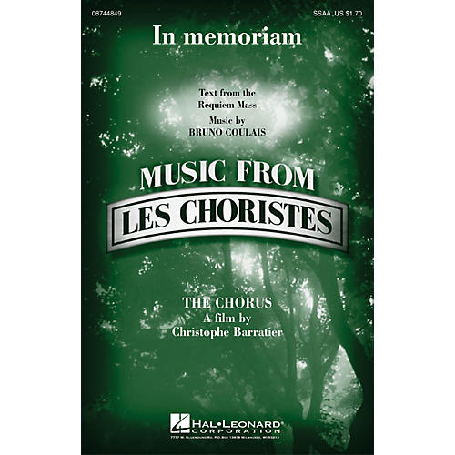 Hal Leonard In Memoriam (from Les Choristes (The Chorus)) SSAA composed by Bruno Coulais