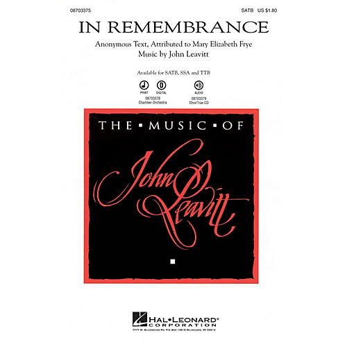 Hal Leonard In Remembrance Chamber Orchestra Composed by John Leavitt