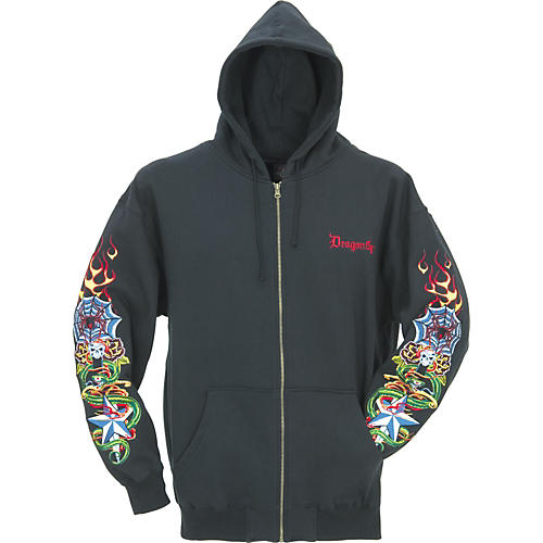 Dragonfly Clothing Inked Up Embroidered Zippered Hoodie
