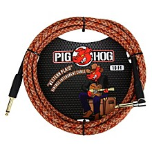 """Pig Hog Instrument Cable Western Plaid 1/4"""" to 1/4"""" Right Angle (10 ft.)"""