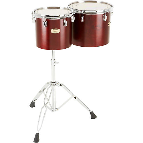 Yamaha Intermediate Single Head Concert Tom Set with WS-865A Stand Darkwood Stain Finish 10 and 12 in.