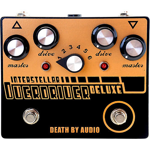 Death By Audio Interstellar Overdriver Deluxe Dual Overdrive Noise Effects Pedal Black and Gold