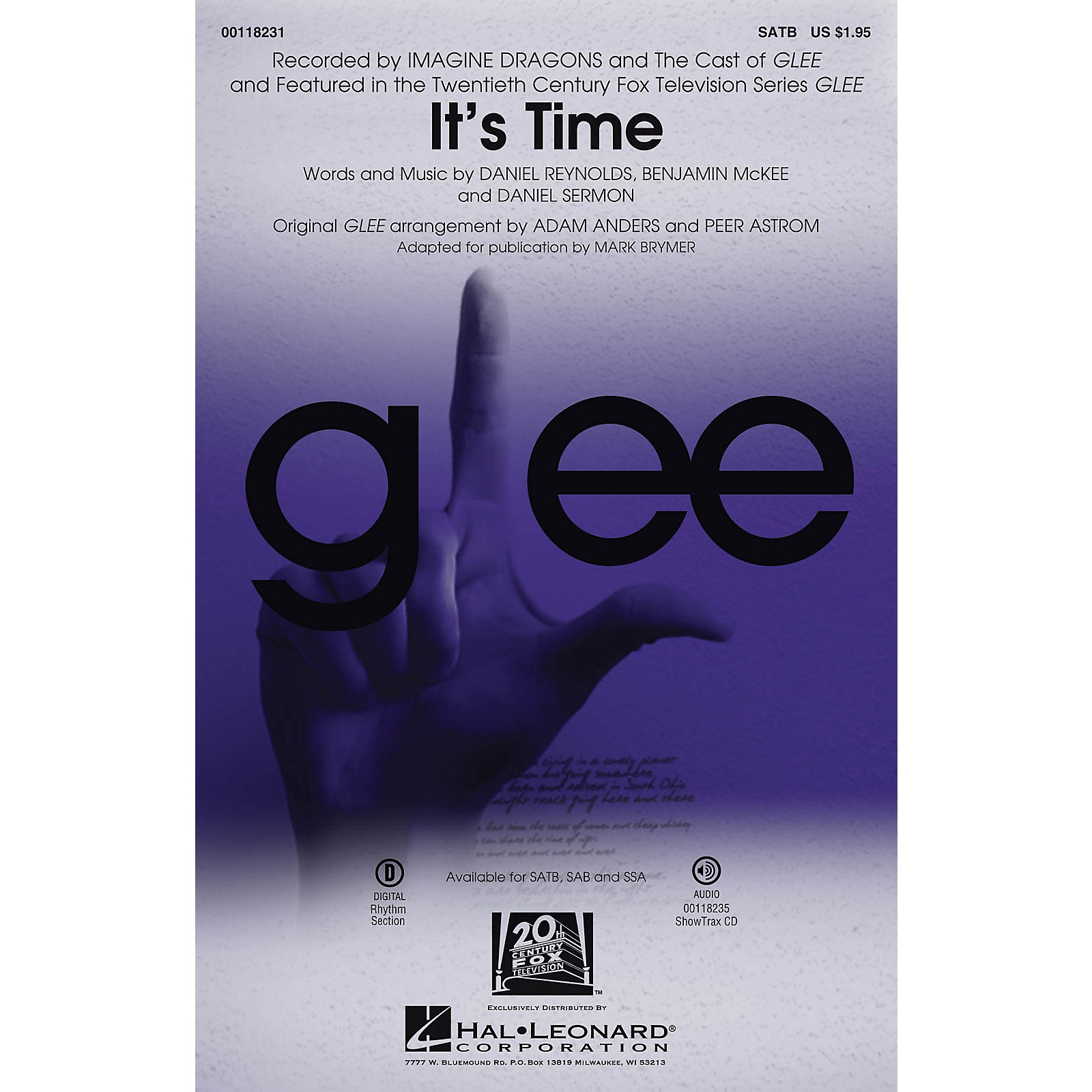 Hal Leonard It's Time SSA by Glee Cast Arranged by Adam Anders