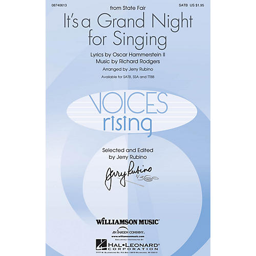 Williamson Music It's a Grand Night for Singing (SATB) SATB arranged by Jerry Rubino