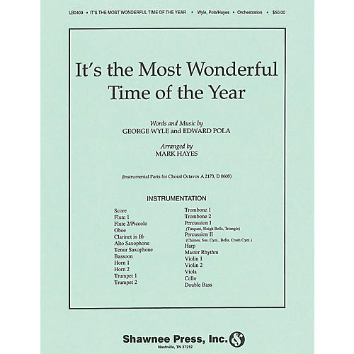 Shawnee Press It's the Most Wonderful Time of the Year INSTRUMENTAL ACCOMP PARTS arranged by Mark Hayes