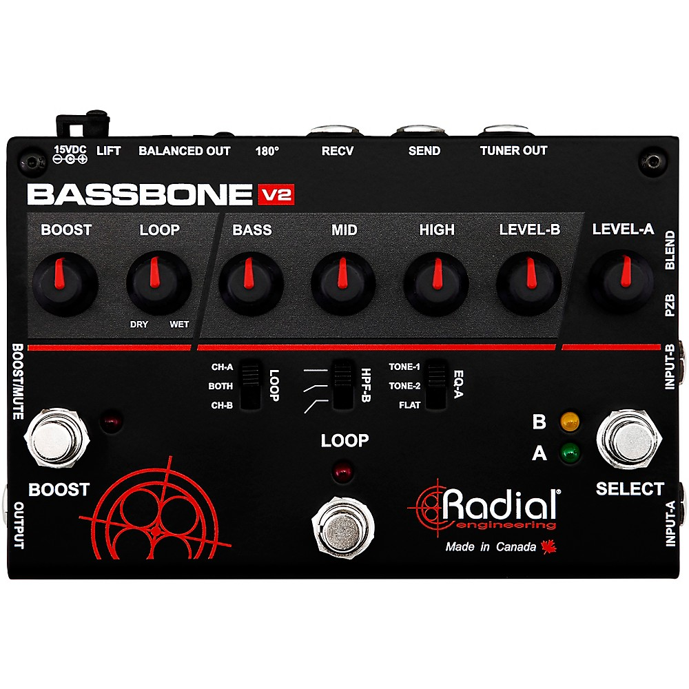 Bass Guitar Preamps Traditional Floor And Desktop Lowvoltagemicrophonepreamp Preamplifier Audiocircuit Radial Engineering Bassbone V2 Preamp Di Box Like The Original Second Generation Features Same Award Winning Audio Circuit